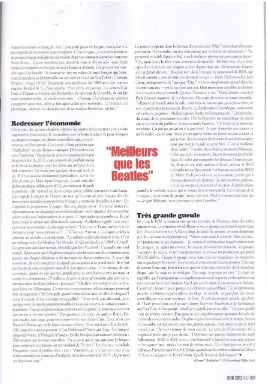 Brian Jonestown Massacre-Rock & Folk (ITW page 4)-Juin 2012