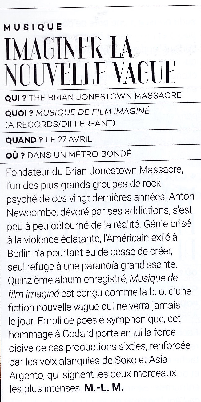 The Brian Jonestown Massacre - Article LE CAHIER DE TENDANCES DE L'OBS avril 15